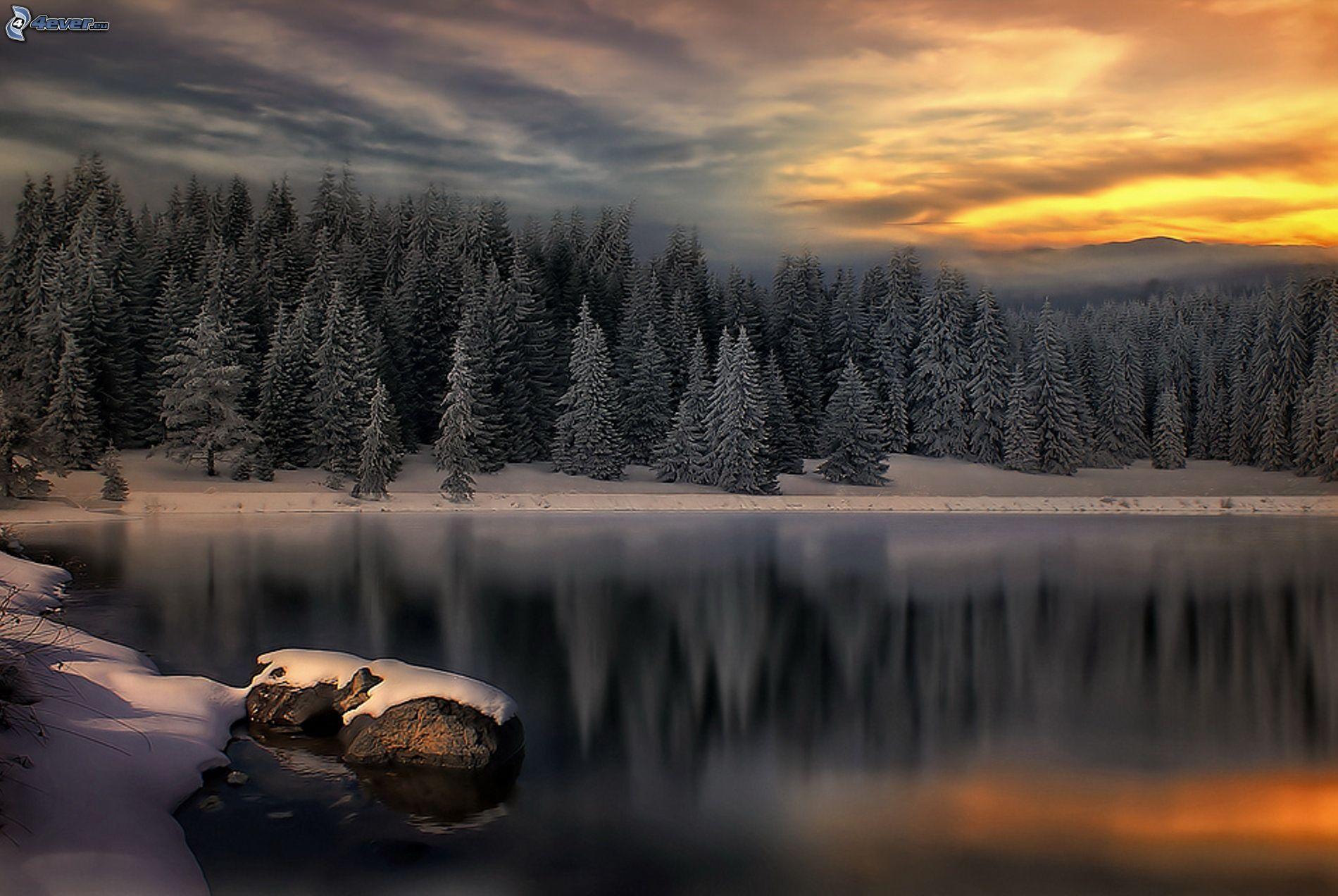 Zalazak sunca  - Page 6 Pokojne-zimne-jazero,-les,-zapad-slnka-151755